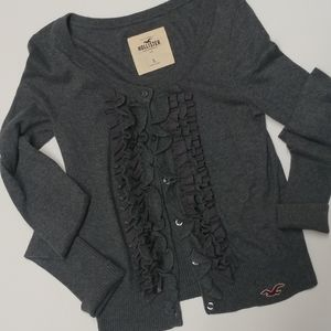 Hollister Ruffle Front Button Sweater Size S